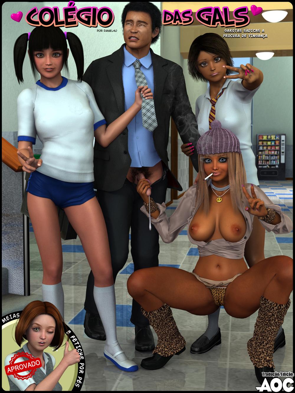 3D pornô Hentai colégio das garotas sádicas