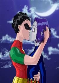 Jovens Titãs Robin comendo Ravena