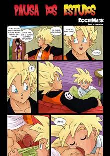 Goku comendo cu do Gohan