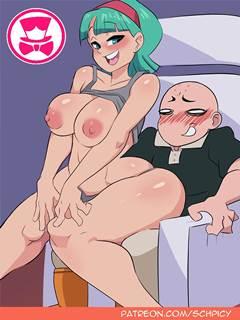Kuririn comendo Bulma em Namekusei
